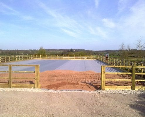 Horse menage under construction in Gloucestershire